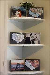 DIY canvas prints with maps of where you got engaged, married, and today-- love this even more than the plain maps