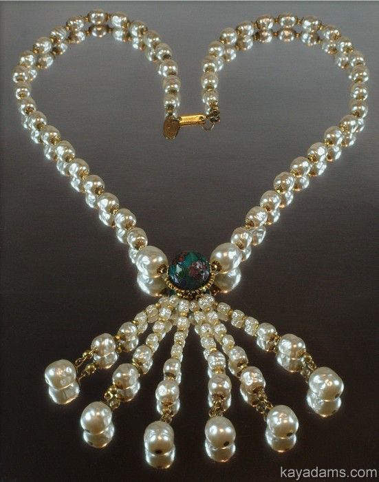 Miriam Haskell Baroque Pearl Tassell Lavalier Lariat
