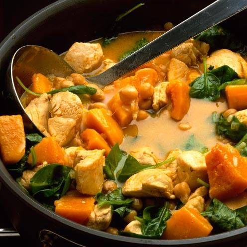 Moroccan chicken, squash and chickpea stew | Recipe