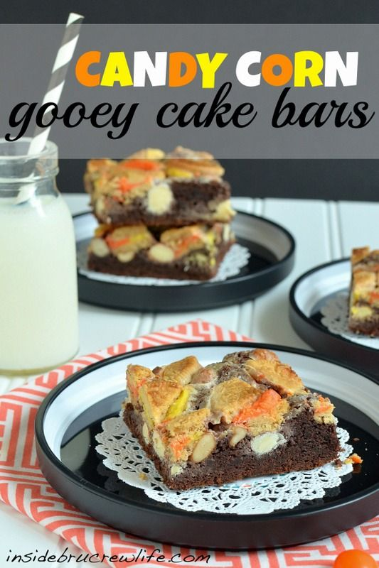 Candy Corn Gooey Cake Bars - chocolate cake crust topped with Oreos ...