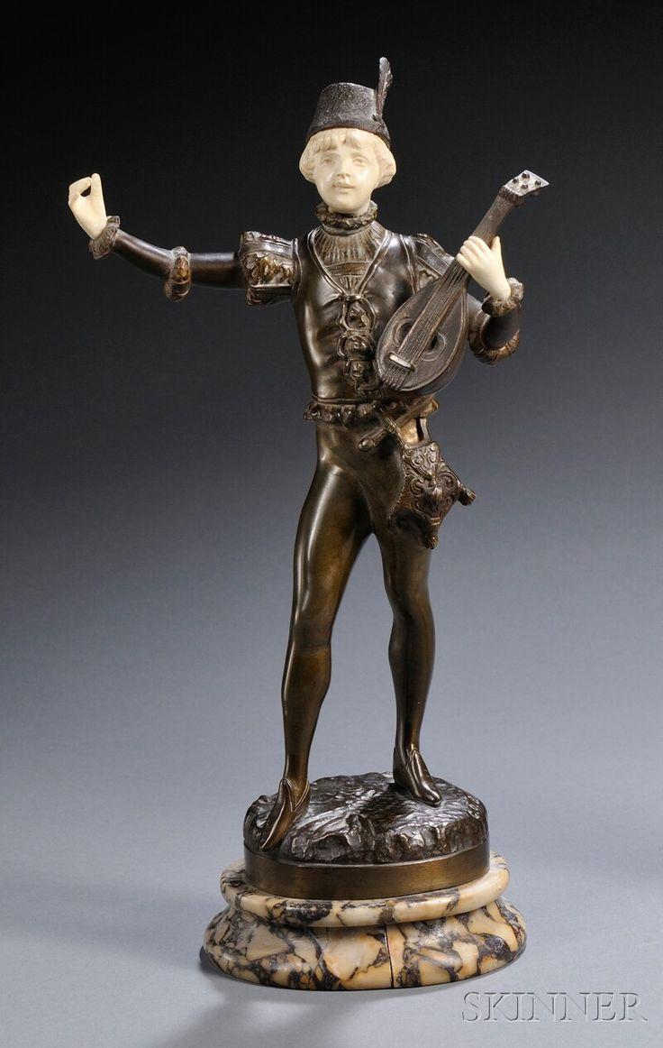 "Continental School, Late 19th / Early 20th Century Bronze and Ivory Figure of a Boy with a Lute, signed ""GO BAILLY,"" with an impressed clover beside the signature"