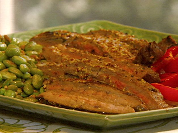 Flank Steak with Sauteed Edamame and Wasabi-Mustard Dressing | Recipe