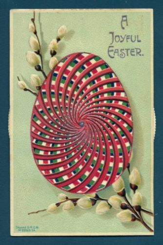 S5641 Easter Mechanical postcard, Pussy willows, Egg