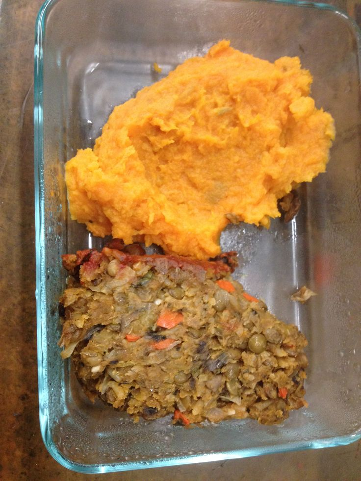 lentil loaf with sweet potato mash | Good Grains & Beans | Pinterest