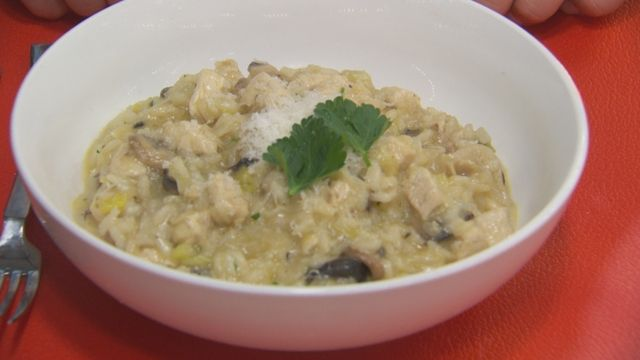 Mushroom, Leek and Chicken Risotto   recipes to try   Pinterest