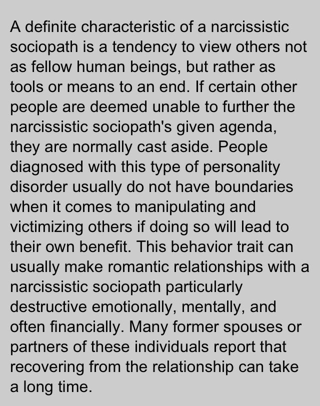 Narcissistic sociopath NARS Stabbed from the inside out True