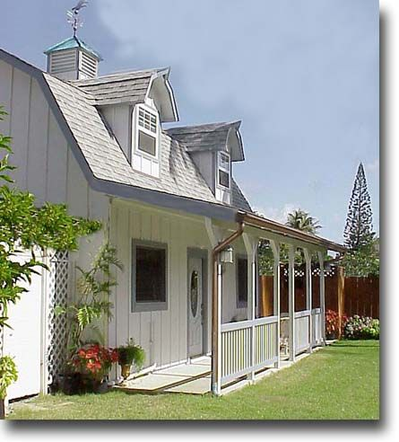 Gambrel, barn-style, shed roof, rounded dormers, cupola, plank exterior, metal roof
