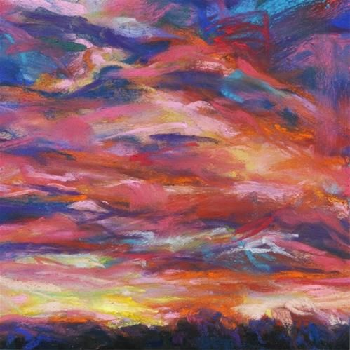 Pink pain 4 1 2 x 4 1 2 pastel sky by susan roden for Original fine art for sale