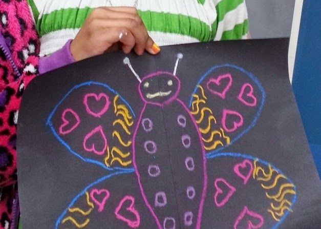 Symmetrical Butterflies - students folded black construction paper in half and drew ½ of a butterfly using colored chalk. Then after closing their paper up like a book, they rubbed over the top with their hands to reveal a symmetrical light chalk reflection inside.  Using those marks as a guide, students were then able to draw the other ½ of their butterfly with symmetry.