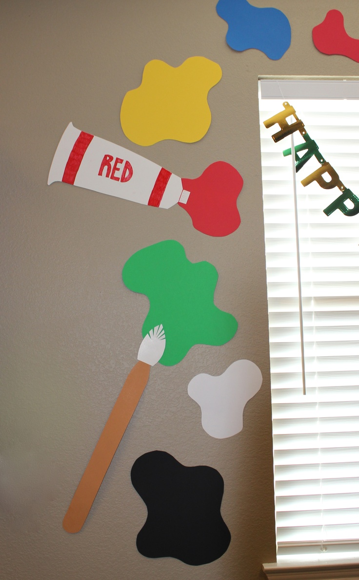 ... decorations for a Painting Party. Just construction paper and poster