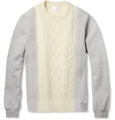 Alexander McQueenAran-Knit Wool and Cotton-Jersey Sweater