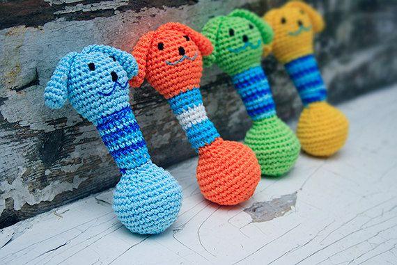 Baby Teething toy Amigurumi Doggy Rattle Crochet animal ...