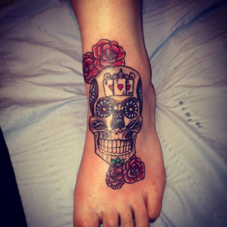sugar skull foot tattoosSkull Foot Tattoos