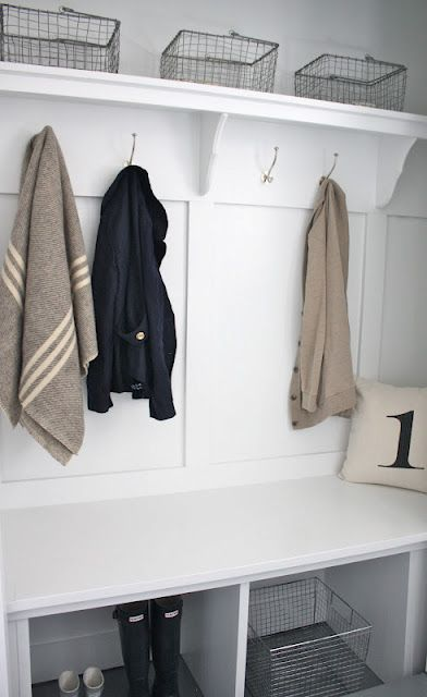 closet converted into mudroom | make a closet more functional by removing doors, adding a bench at kid height, hooks for jackets and baskets for shoes, sunscreen and hats