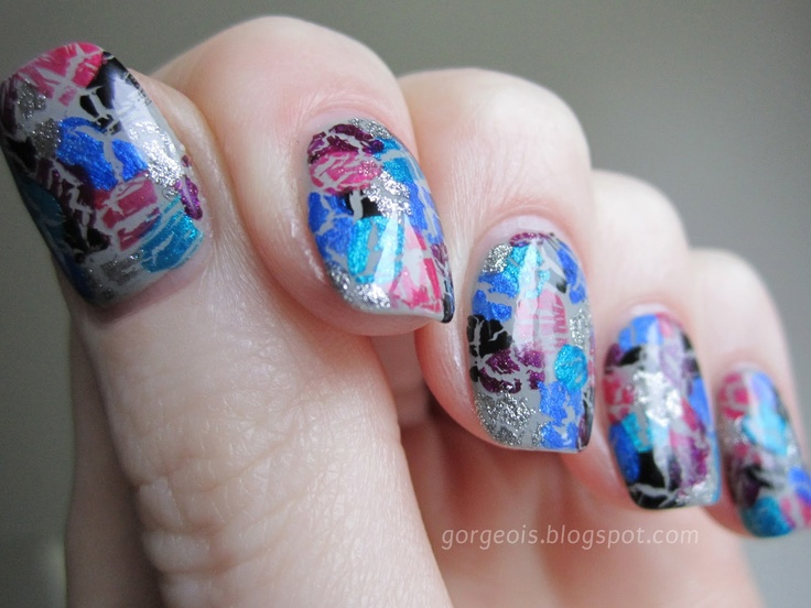 Awesome Idea!! -- Shatter Mosaic: OPI Silver Shatter, OPI Turquoise Shatter, OPI Blue Shatter, OPI Super Bass Shatter, OPI Pink Shatter, OPI Black Shatter, Sally Hansen Wet Cement