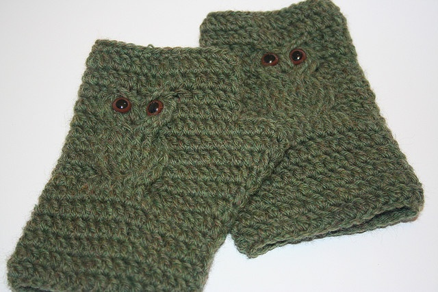Owl Fingerless Gloves Crochet Pattern Crocheting Pinterest