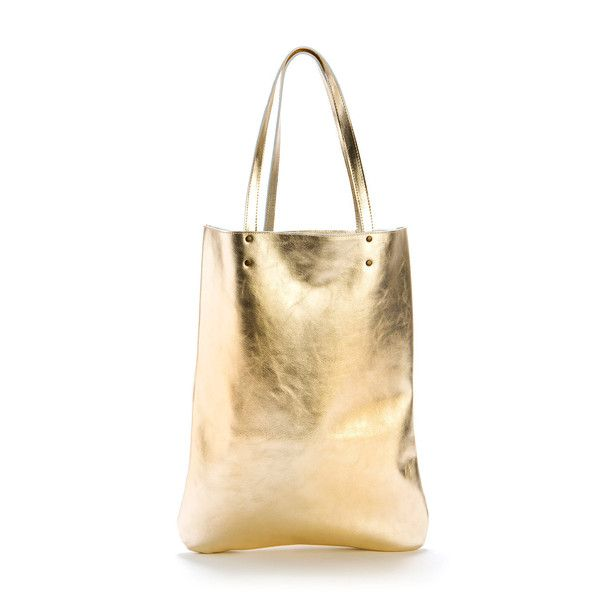 Leather Tote Bag Gold