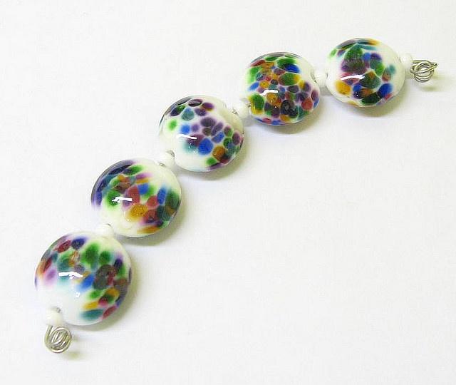 Rainbow Dot Lampwork Beads   One Hot Piece of Glass!   Pinterest