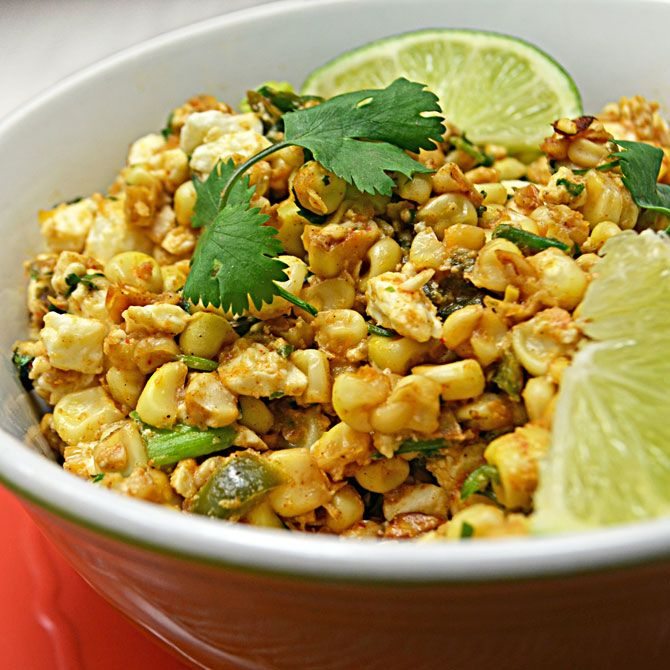 Esquites (Mexican Street Corn Salad with Chipotle and Cotija cheese)