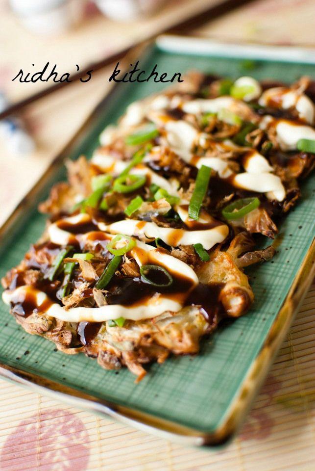 Okonomiyaki - Japanese savory pancake | down the hatch | Pinterest
