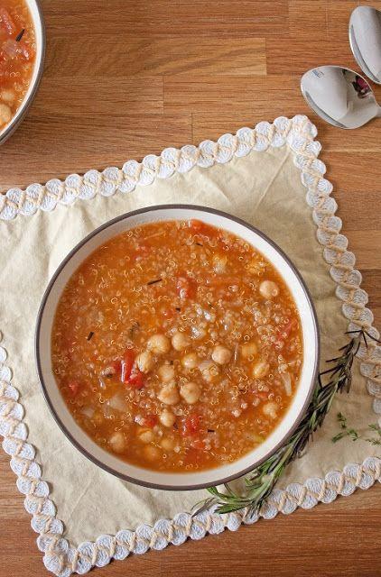 the vegan chickpea: Chickpea, Quinoa, and Tomato Soup