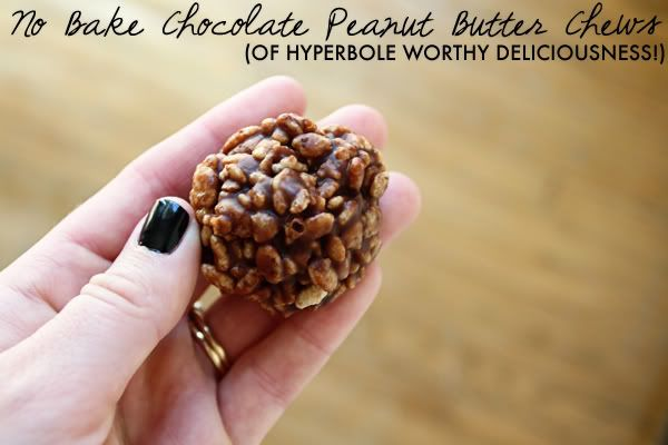 no bake chocolate peanut butter chews!