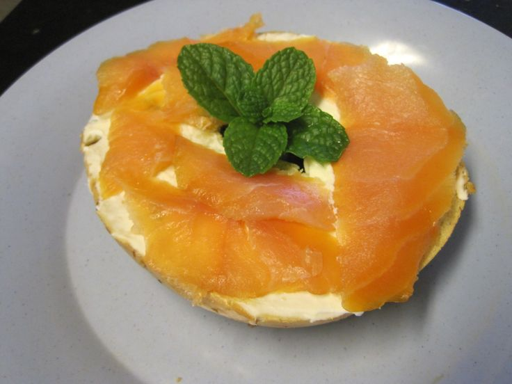 Smoked Salmon and Cream Cheese Bagel | Breakfast | Pinterest