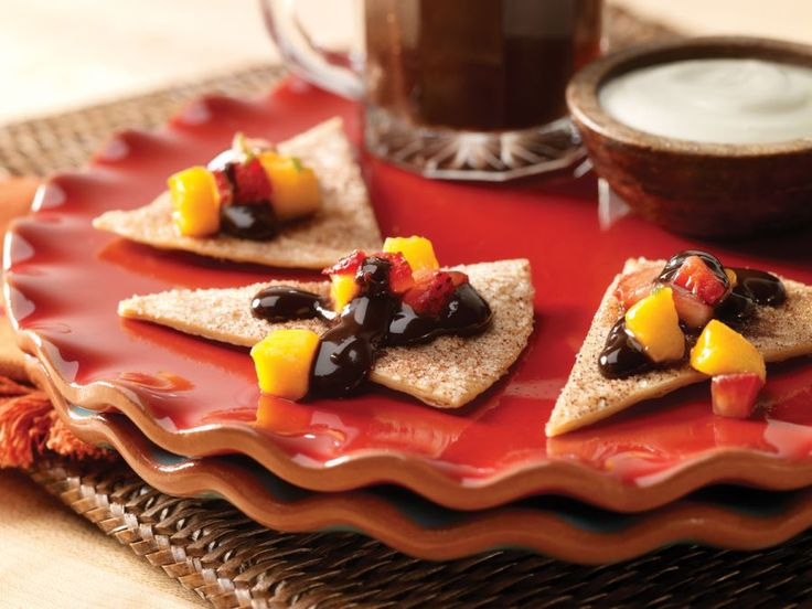 ... , baked cinnamon tortillas, chocolate sauce and brown sugar cream