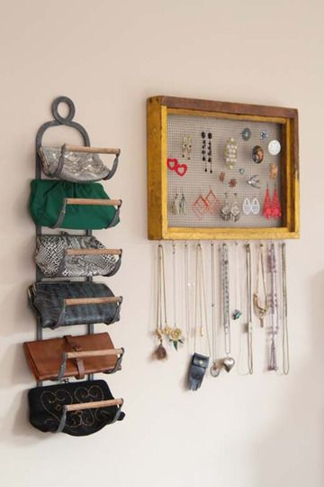 wine rack used as purse organizer