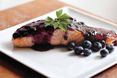 OVEN-FRIED SALMON WITH BLUEBERRY CHIPOTLE GLAZE