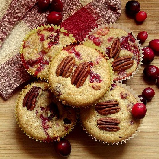 Plump, tart fresh cranberries in tangy orange flavored muffins made ...