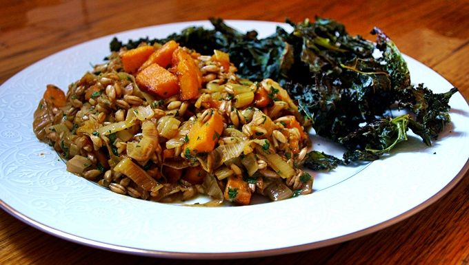 Farro with Red Kuri Squash and Leeks with Kale Chips from ...