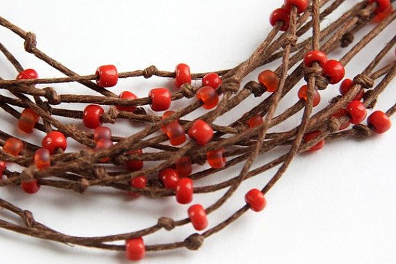 Multi Strand Necklace Natural Polished Brown Hemp  by KapKaDesign