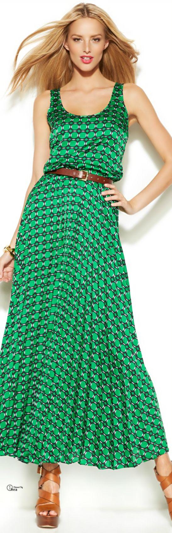 Michael Kors ● Green Printed Maxi Dress