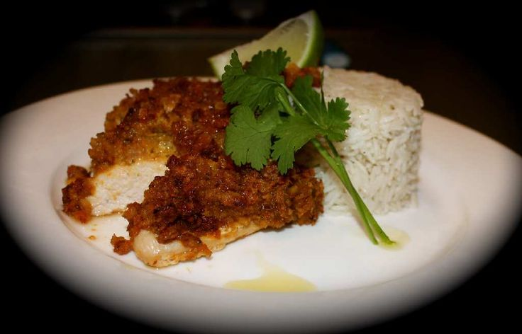 Thai Peanut Crusted Chicken with Coconut Rice