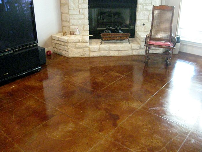 Cola Acid Concrete Stain In Living Room Concrete Stained And Stampe