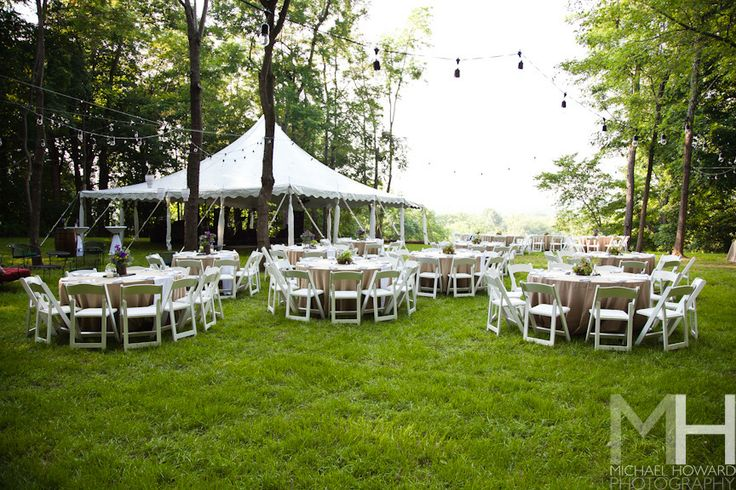 Tent Wedding In Backyard : Pole Tent with Tables & Chairs on Lawn  Tents  Pinterest