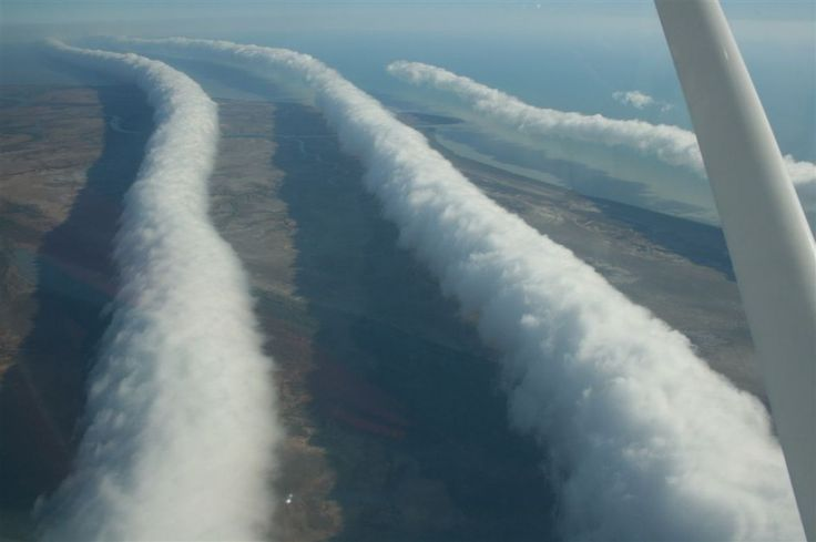 Morning glories Queensland, Australia. Another iteration of Australia's famous Morning Glory, this time with multiple roll clouds. The area around Burketown is known for the phenomenon, most likely to appear between September and mid-November.