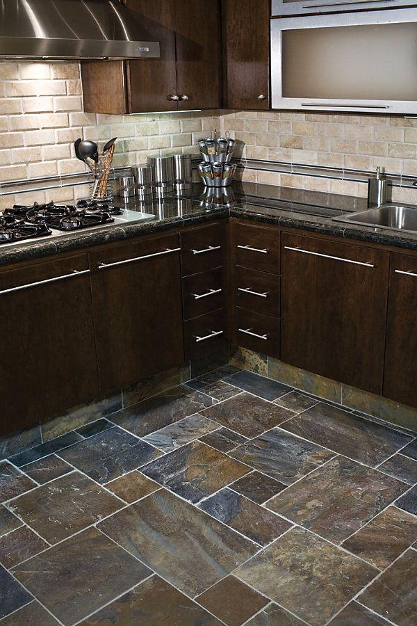 Gobi slate same as our backsplash kitchen pinterest for Slate kitchen floors with white cabinets
