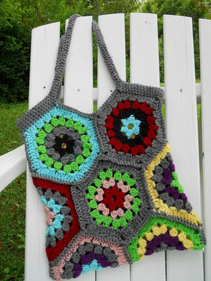 Crochet Boho Bag : Boho bag crochet hex pattern HOOKED on crochet!! Pinterest