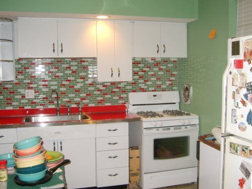retro kitchen tile backsplash kitchen ideas pinterest