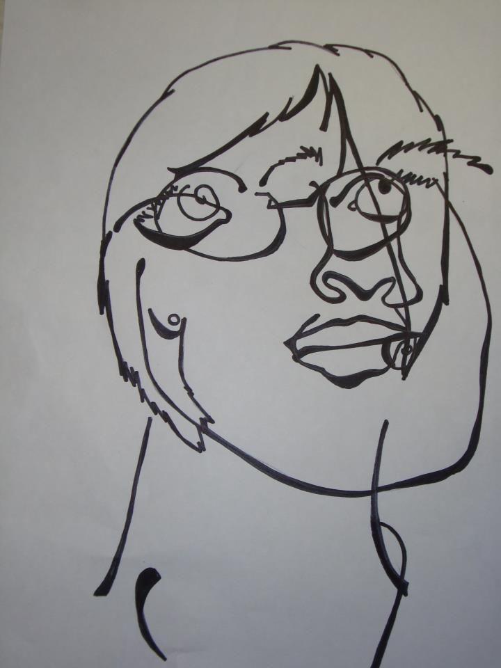 Contour Line Drawing Self Portrait : Blind contour self portrait mary go round wright