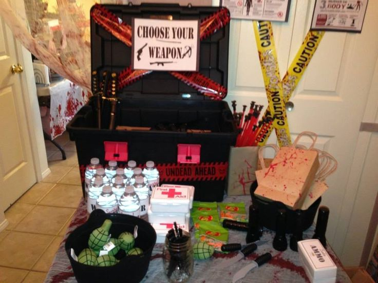 Zombie survival party favor table halloween pinterest for Table zombies
