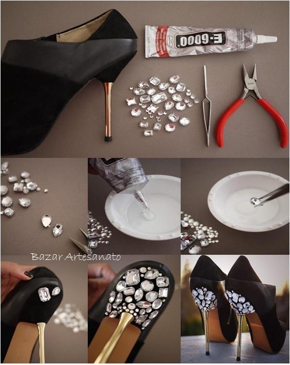 Sapato Customizado, um luxo...    Bazar Artesanato no Facebook  https://www.facebook.com/BazarArtesanato