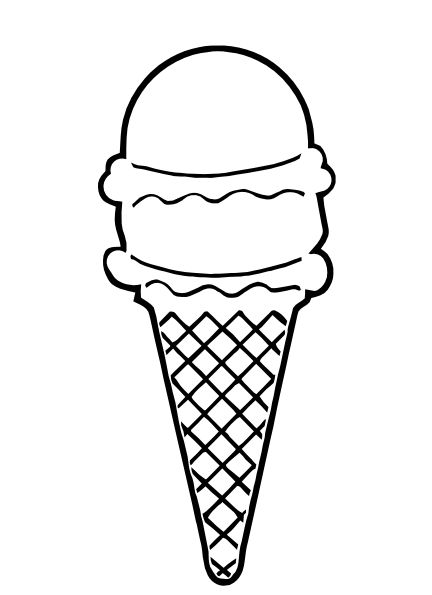 ice-cream-cone-outline-hi.png (432×595) | Teach | Pinterest