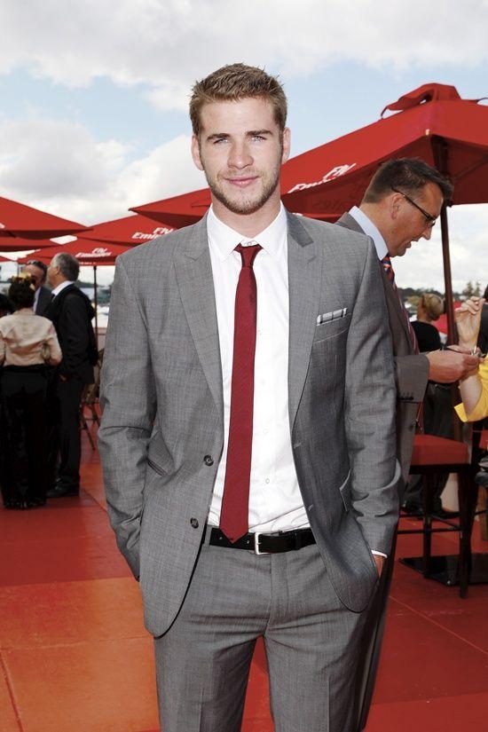 Similiar Grey Suit Red Tie Keywords