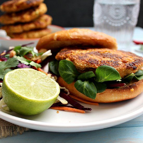 Vegan chickpea + quinoa burgers with Thai Peanut Lime Slaw on the side ...