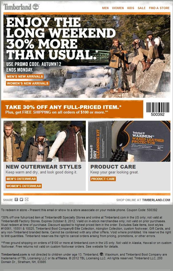 Timberland coupon codes november 2018