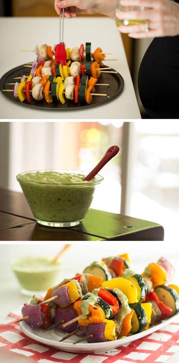 vegan green goddess dressing with grilled veggie kabobs