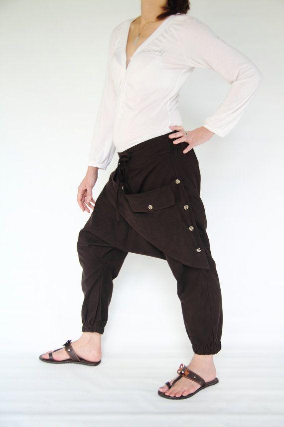 Ninja pants new design brown cotton,unisex pants ,3/4 Length Pants (C